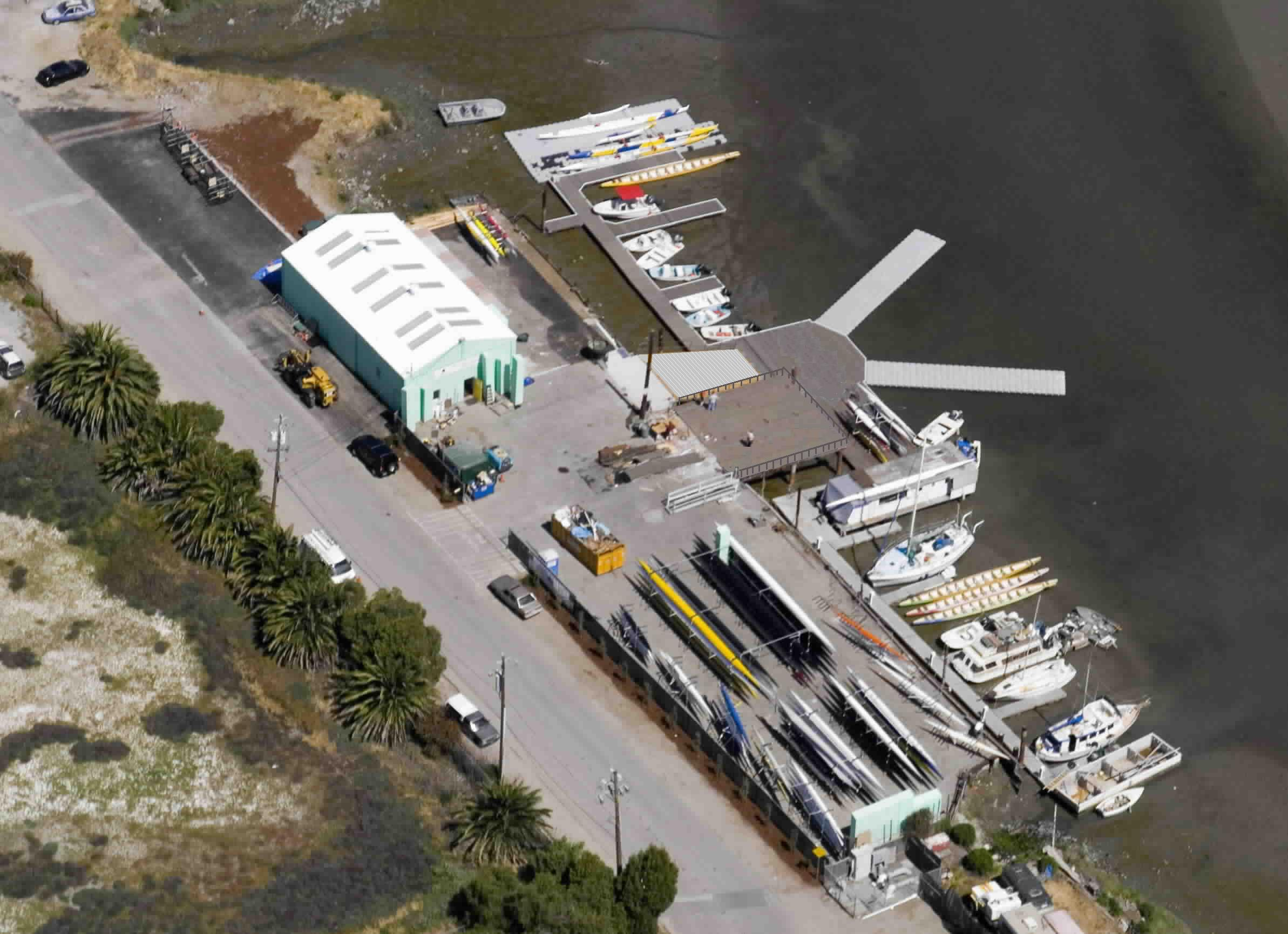 Overhead view of the BIAC boathouse in Redwood City